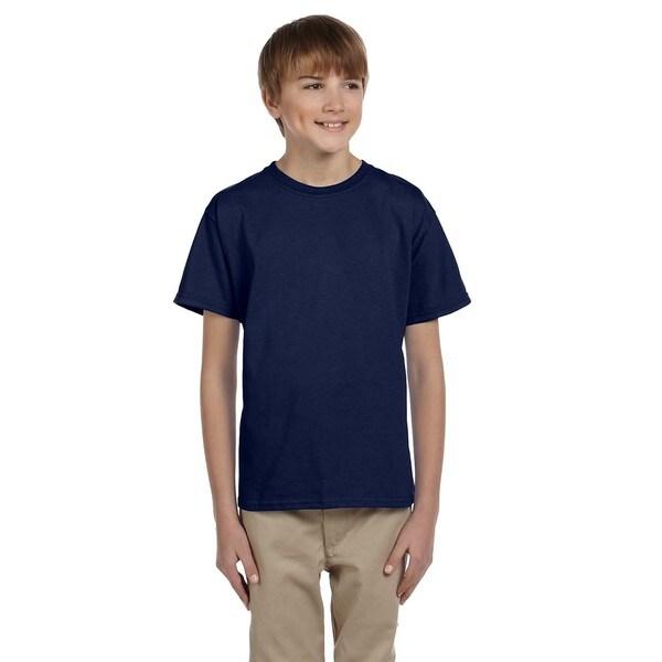Hanes Boys' Comfortblend Ecosmart Polyester/Cotton Navy Blue Crewneck T-Shirt 19792381