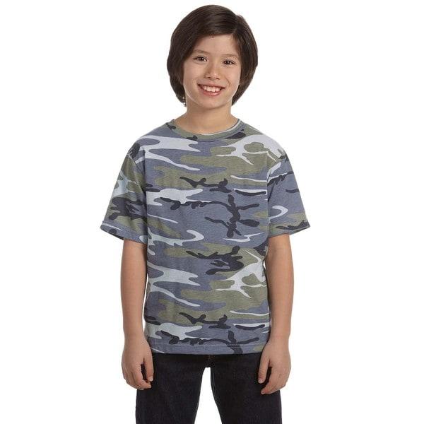 Boys' Cotton Blue Woodland Camouflage T-shirt