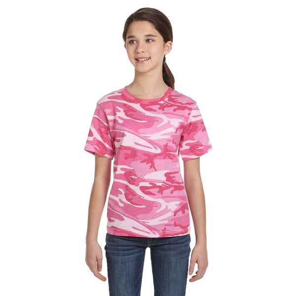 Boys' Pink Cotton Camouflage Woodland T-shirt