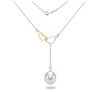 DaVonna Sterling Silver Chain Necklace with Two-tone Linking Open Heart Charms and 8-9mm Long Shape White Freshwater Pearl