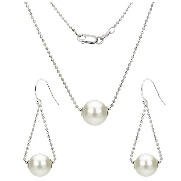 DaVonna Sterling Silver Diamond Cut Bead Chain 9-11mm White Round Freshwater Pearl Swivel Pendant and Matching Earrings