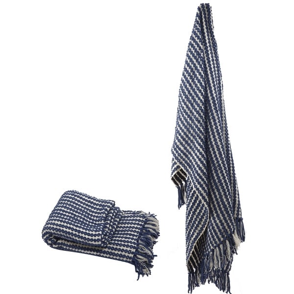 Blue Chenille Throw With Fringe