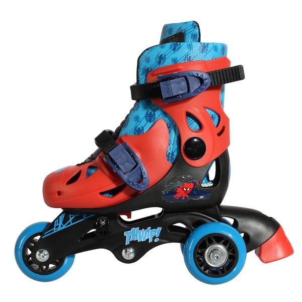 Playwheels Spider-Man Blue/Red Stainless Steel Junior Size 6-9 Convertible 2-in-1 Skates
