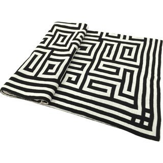 A&B Home Acrylic Greek Key Black White Jacquard Throw