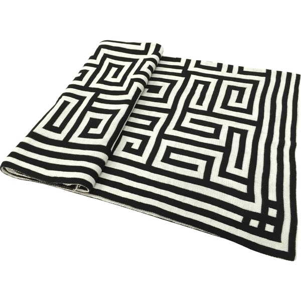 Acrylic Black Chevron Jacquard Throw