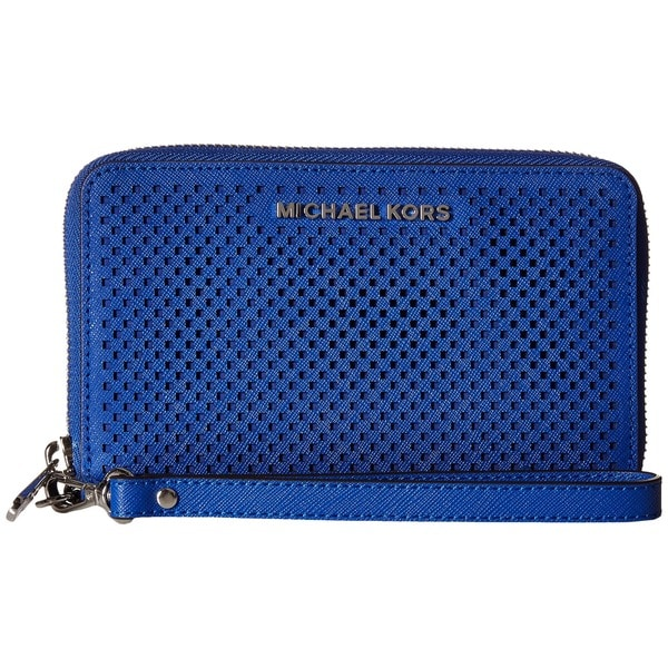 Michael Kors Jet Set Electric Blue Perforated Leather Large Multifunction Phone Wallet