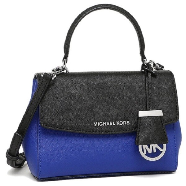 Michael Kors Ava Electric Blue/Black Saffiano Leather Extra-small Crossbody Handbag