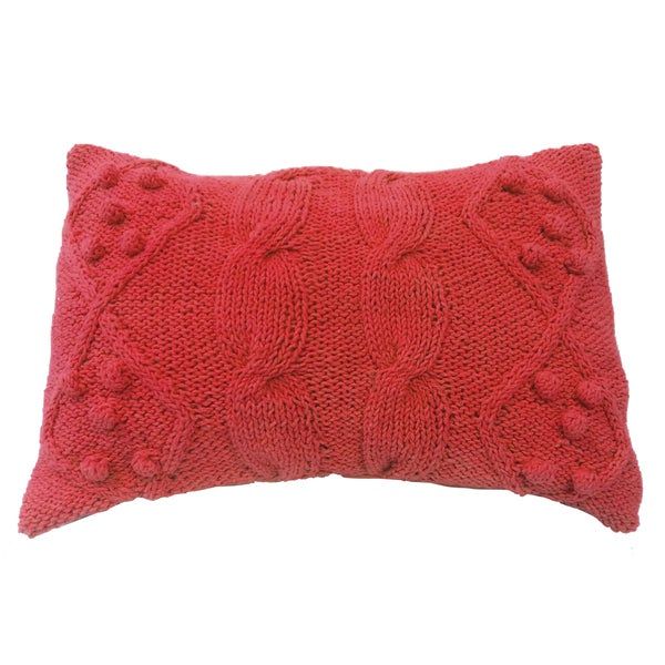 Orange Cotton/Polyfill 14-inches High x 20-inches Wide Twisted Cable-knit Throw Pillow