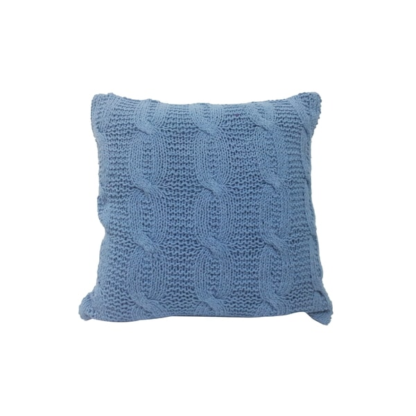 Blue Cotton-blended Square Cable Knit Throw Pillow