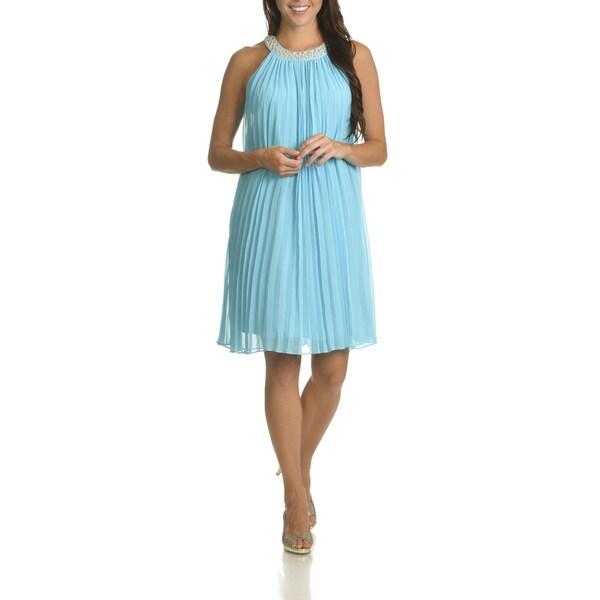 Sharagano Women's Embellished Neckline Pleated Shift Dress