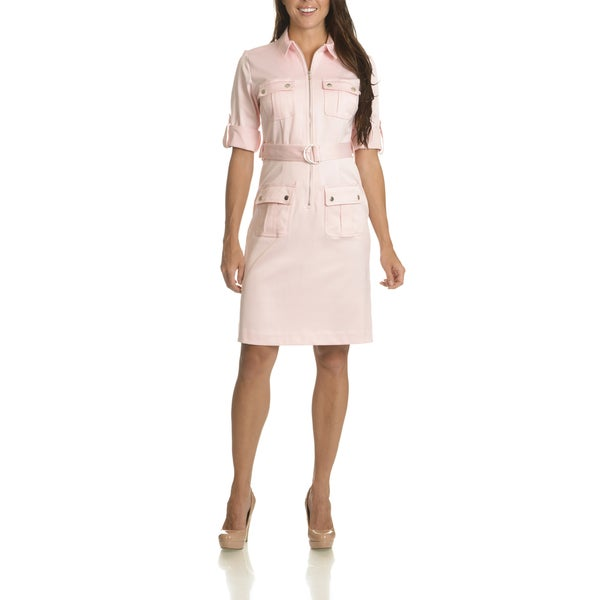 Sharagano Women's Exposed Front Zip Belted Shirt Dress