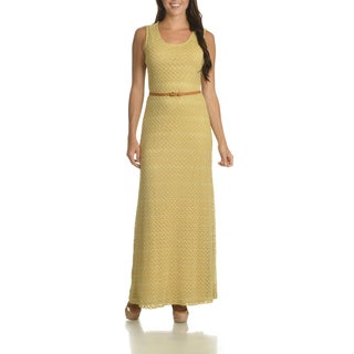 Sharagano Women's Crochet Belted Maxi Dress