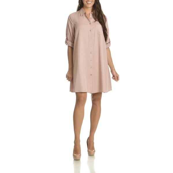 Sharagano Women's Roll Tab Sleeve Shirt Dress