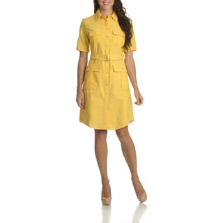 Sharagano Women's Belted Shirt Dress