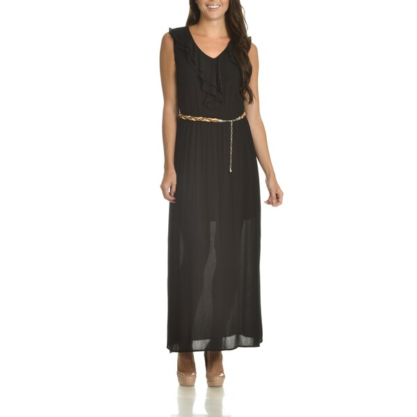 Nina Leonard Women's Black Rayon Ruffle-front Belted Maxi Dress