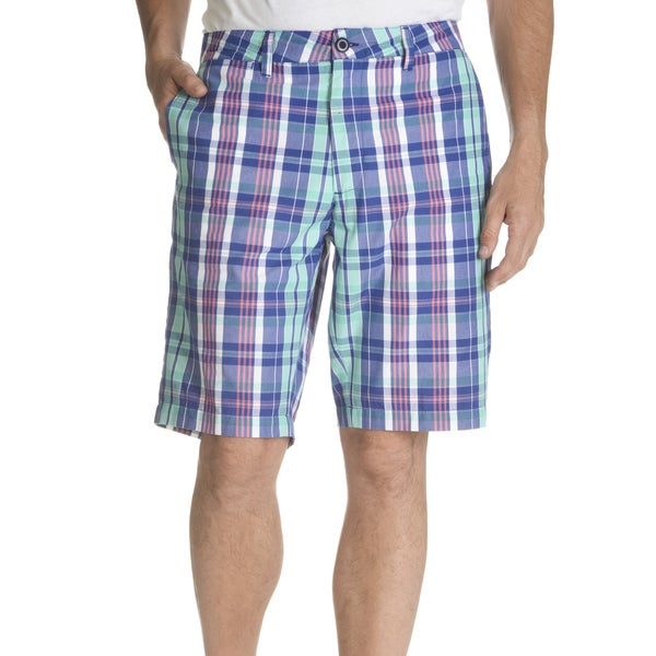 Caribbean Joe Mens Madras Plaid Flat Front Short