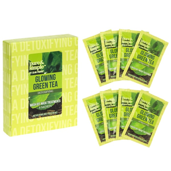 Jean Pierre Pure and Simple Glowing Green Tea Detoxifying Wash-off Mask Treatments (Pack of 8)