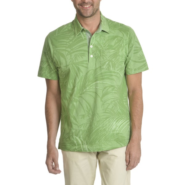 Caribbean Joe Mens Short Sleeve Pigment Printed Pocket Polo