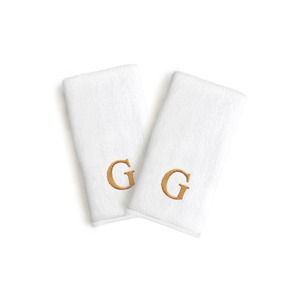 Authentic Hotel and Spa 2-piece White Turkish Cotton Hand Towels with Gold Block Monogrammed Initial