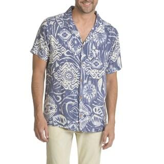 Caribbean Joe Men's Short Sleeve Convertible Button-down Shirt