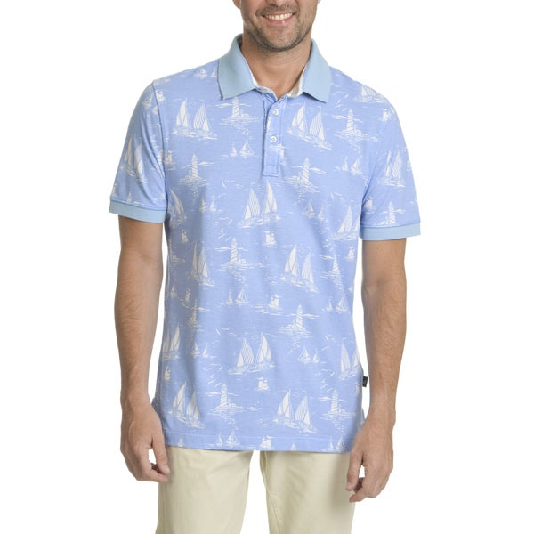 Caribbean Joe Men's Blue Cotton Sailboat Print Short Sleeve Button Polo
