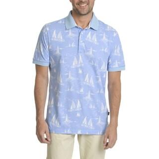Caribbean Joe Men's Blue Cotton Sailboat Print Short Sleeve Button Polo