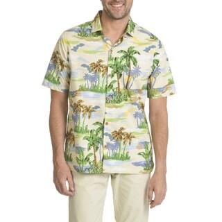 Caribbean Joe Men's Short-sleeve Cool Cotton Printed Button-down Shirt