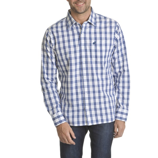 Caribbean Joe Men's Gingham Poplin Long-sleeve Button-down Shirt