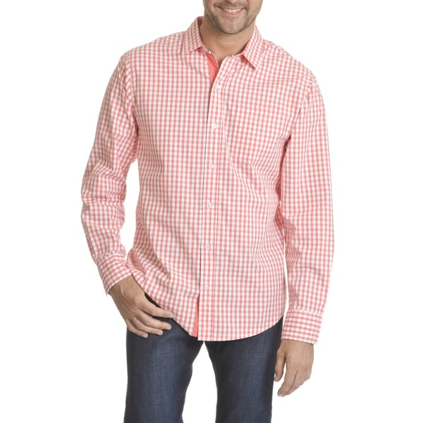 Caribbean Joe Men's Gingham Poplin Long-sleeved Button-down Shirt