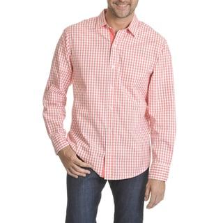 Caribbean Joe Men's Gingham Poplin Long-sleeved Button-down Shirt