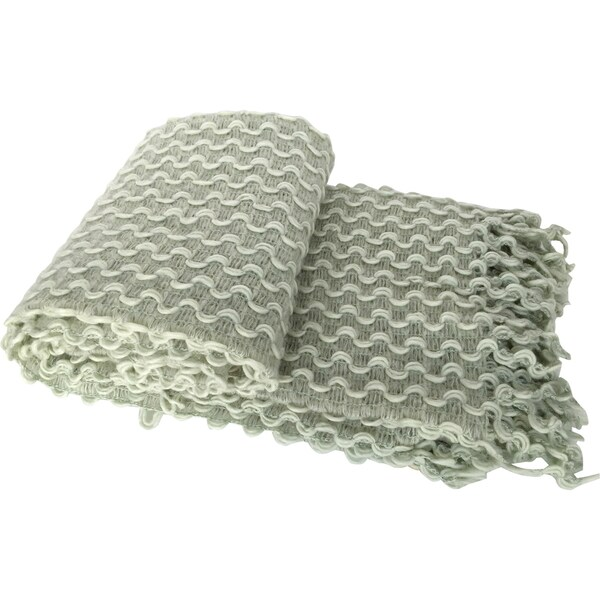 Green Textured Zig-zag Crochet Fringed Throw