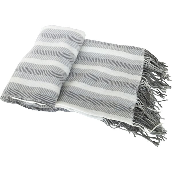 Grey Herringbone Cashmere-like Fringed Throw
