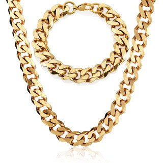 Crucible Men's Stainless Steel Cuban Curb Chain Bracelet and Necklace Set - 14mm Wide