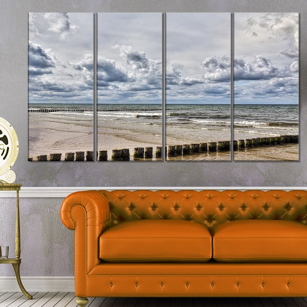 Stormy Weather in Hiddensee Sea - Seashore Canvas Wall Artwork