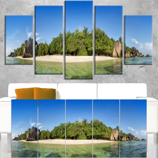 Paradise on Earth Seychelles Island - Large Seashore Canvas Print
