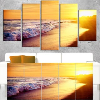 Bright Yellow Sky with Foam Waves - Large Seashore Canvas Print