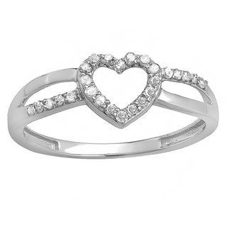 10k White Gold 1/5ct TDW Round Diamond Bridal Promise Heart Split Shank Engagement Ring (I-J, I2-I3)
