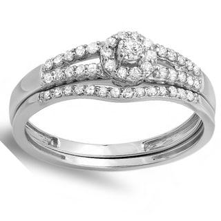 14k Gold 3/8ct TDW Round Diamond Split Shank Halo Style Bridal Engagement Ring Matching Band Set (H-I,I1-I2)