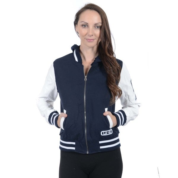 Women's Varsity Hooded Twill Jacket Medium Size in Navy (As Is Item)
