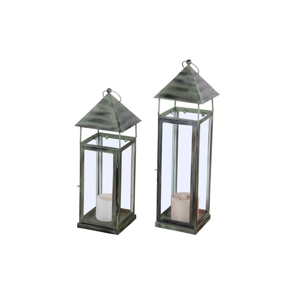 Alliyah Hut Series Green Iron Handmade Lantern