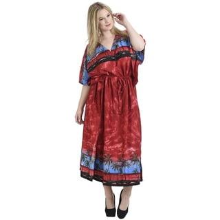 La Leela Women's Red Smooth Likre Palm Tree Cloud Beach Kaftan Maxi Dress