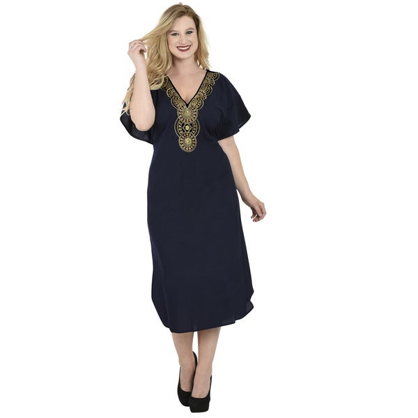 La Leela Navy Rayon Tunic Embroidered Top Kaftan Dress Women Beach Bikini