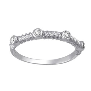 Beverly Hills Charm 10k White Gold 1/8ct TDW Stackable Twisted Wire Diamond Band Ring (H-I, I2-I3)
