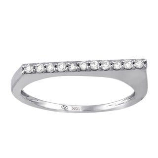 Beverly Hills Charm 10k White Gold 1/6ct TDW Flat Top Bar Stackable Diamond Ring (H-I, I2-I3)