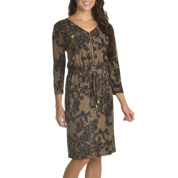 Nina Leonard Women's Lace Print Drawstring Waist Shift Dress