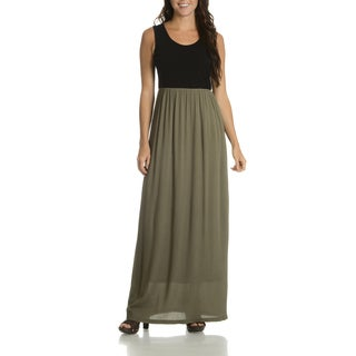 Nina Leonard Women's Lennie 2-tone Cotton/Spandex/Polyester Maxi Dress