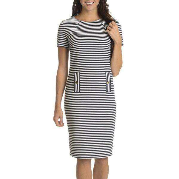 Nina Leonard Women's Textured Horizontal Stripe Short-sleeve Dress