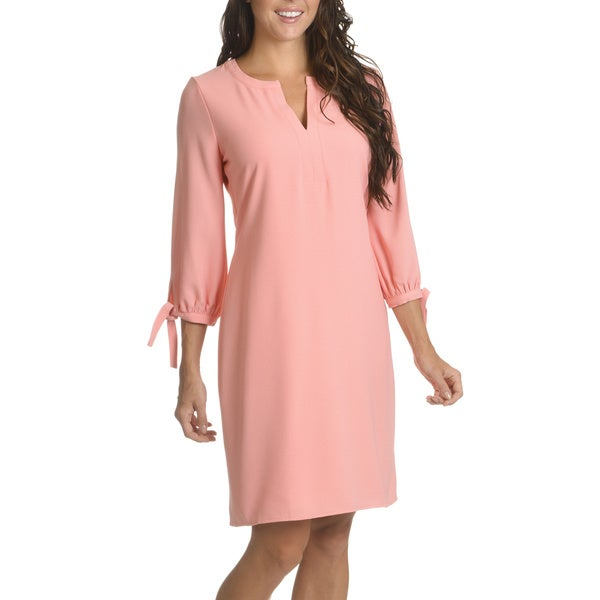 Nina Leonard Women's Polyester Textured Knot-sleeve Detail Dress