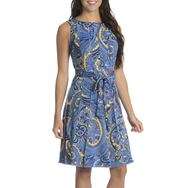 Nina Leonard Women's Paisley-print Pintuck Dress