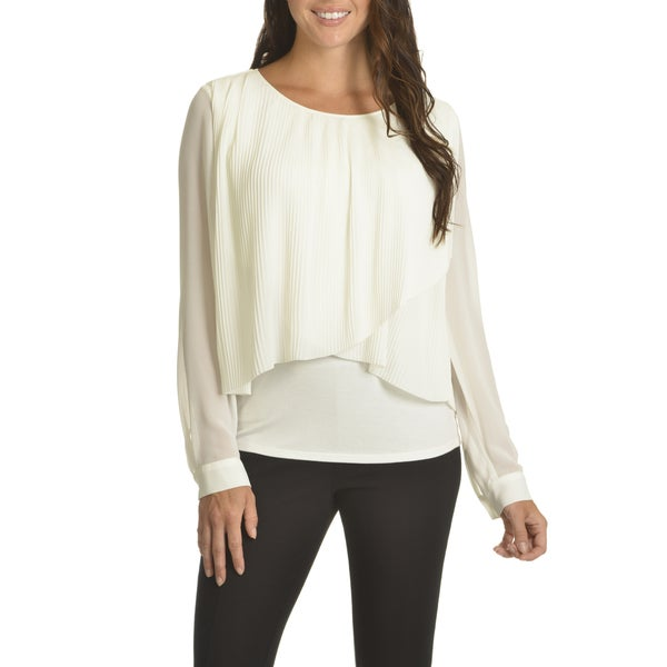 Chelsea & Theodore Women's Pleated Layered Top